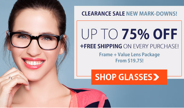 Save Up to 70% OFF Clearance Sale plus Free Shipping on orders at GlassesUSA.com